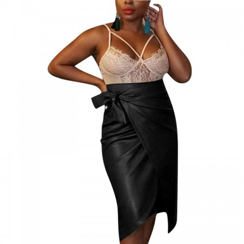 Black Women's PU Leather Asymmetric Straight Skirts Bottoms Business F8251