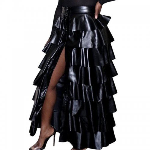 Black Trendy Women High Slit Pu Leather Layered Ruffled Party Maxi Skirt F8254
