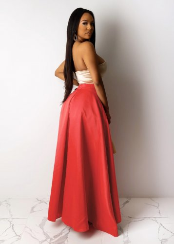 Red High Wasit Draped Split Side Dress DN8350