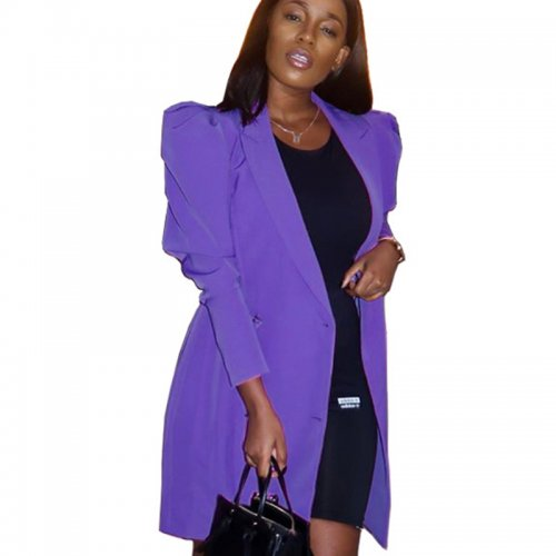 Purple Solid Color Lapel Neck Wrap Wasit Long Coat CYY8533