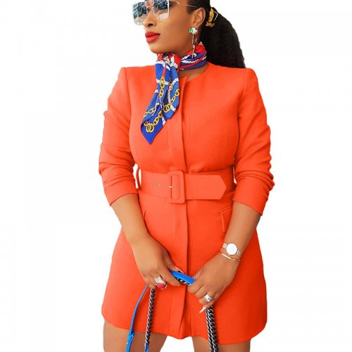Orange Fitting Dress with Belt  YX9189