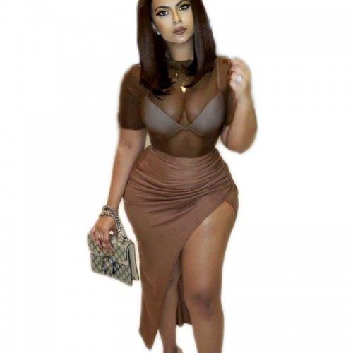 Brown Sexy Round Neck 3d Split Thigh Bodycon Dress C2050