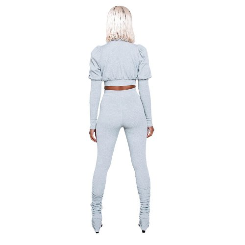 Gray Zipper Front Bishop Shoulder Two Pieces Sport Set LML079