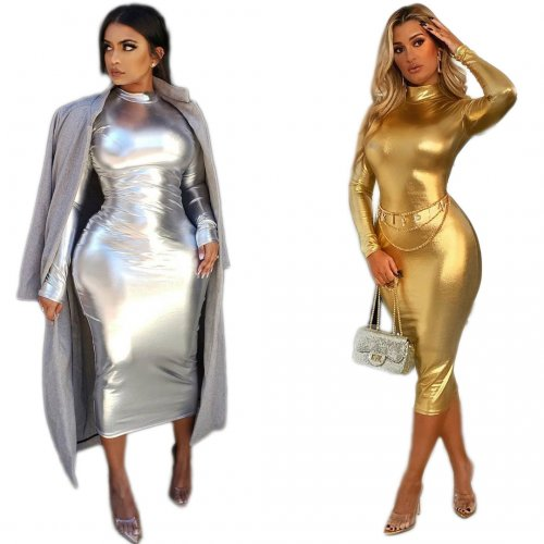 Silver Shiny Halter Neck Bodycon Party Long Dress C2049