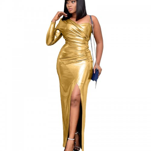 Golden Shiny One Shoulder Split Hem Split Long DressYX9187