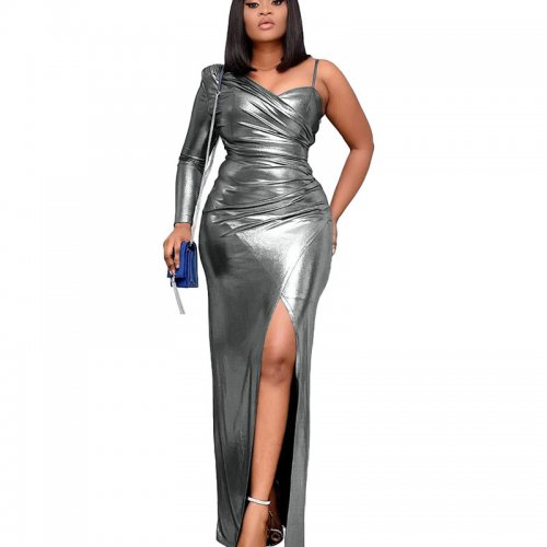 Gray Shiny One Shoulder Split Hem Split Long Dress YX9187