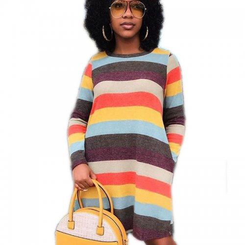 Colorful Stripes Round Neck Long Sleeve Ankle-Length Casual Dress C2053