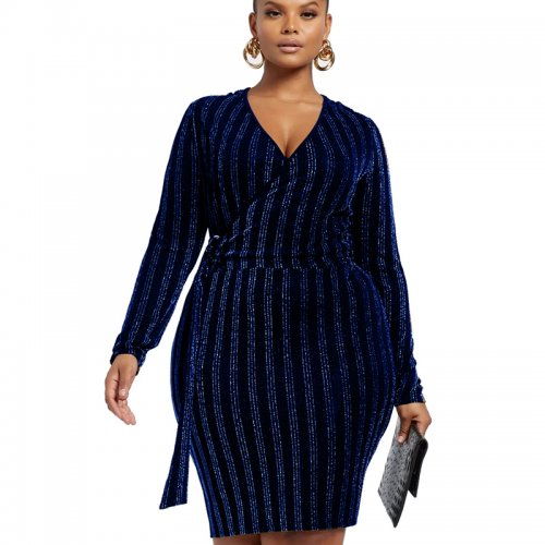 Dark Blue V Neck Long Sleeve Lady's Wrap Knotted Midi Dress  SMR9524