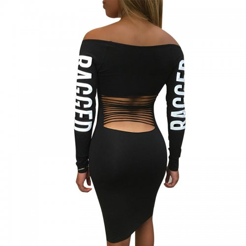 Black Letter Print Solid Color Collaless Back Ripped Midi Dress  T3263