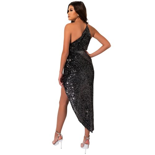 Black Sequined Stripes Detail One Shoulder Split Side Long Party Dress XZ3342
