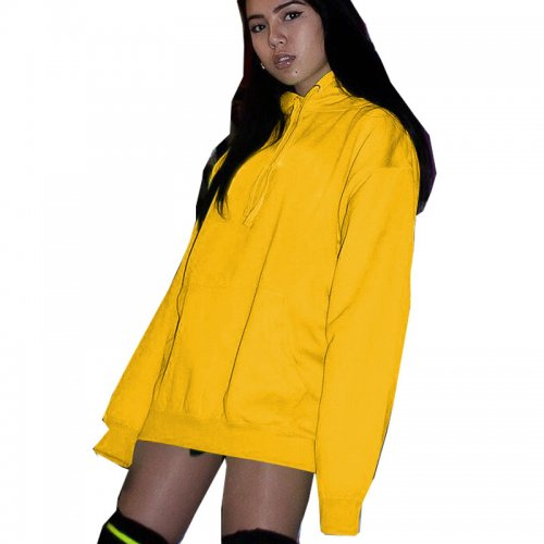 Mustard Yellow Hoodie Zip Up Front Sport Coat OMM1102