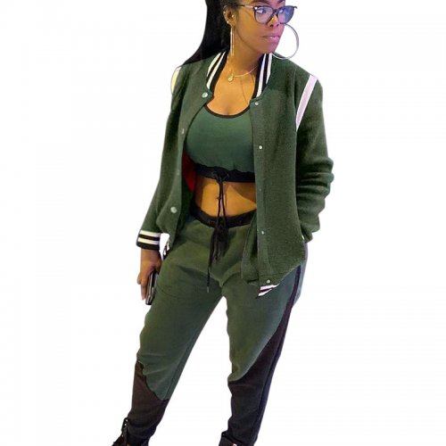 Green Solid Color Jacket Blouse & Waistband Pants Set BLX7353
