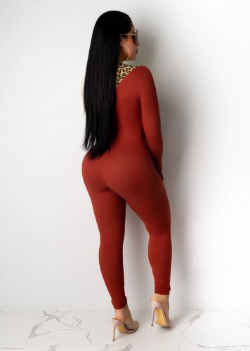 Red Hollow Out Front Patched Leopard Pattern Bodycon Jumpsuit MN8097