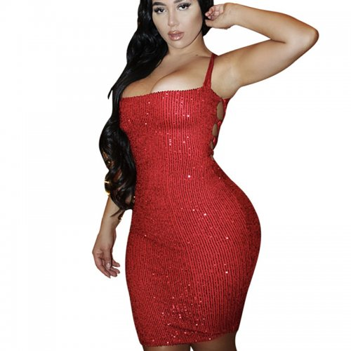 Wine Red Sexy Sequined Criss Cross Back Split Midi Party Bodycon Dress  MY9573