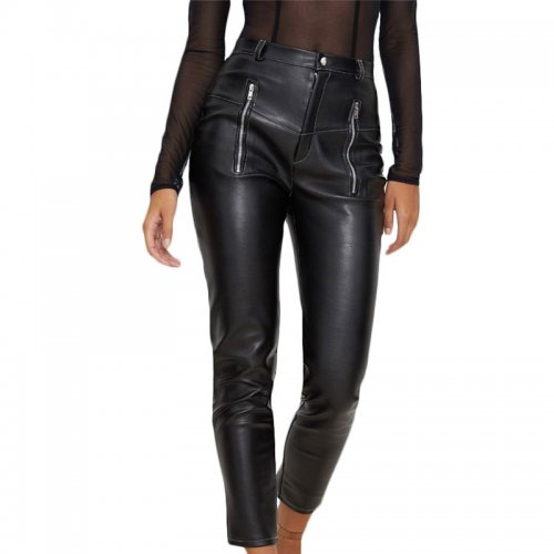 Black Pu Pants with Zip Up Pocket SN006
