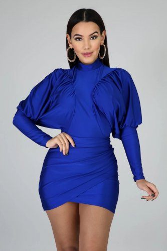 Blue Bishop Criss Cross Wrap Mini Dress HY5127