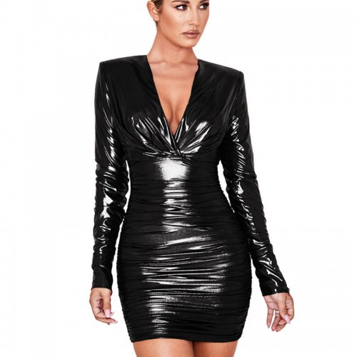 Black Shiny Plunging Neck Waist Tied & Wrap Bodycon Dress GL6212