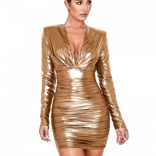 Golden Shiny Plunging Neck Waist Tied & Wrap Bodycon Dress GL6212