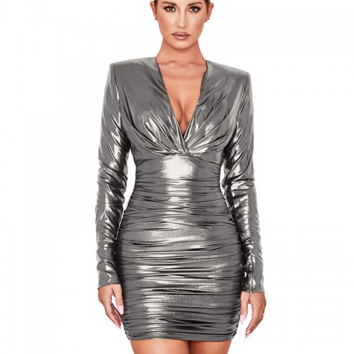 Gray Shiny Plunging Neck Waist Tied & Wrap Bodycon Dress GL6212