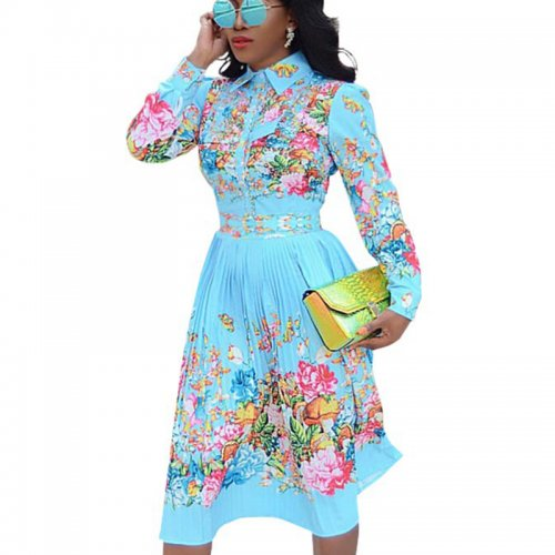 Light Blue Floral Print Doubel Layer Wrap Long Dress SMR9550