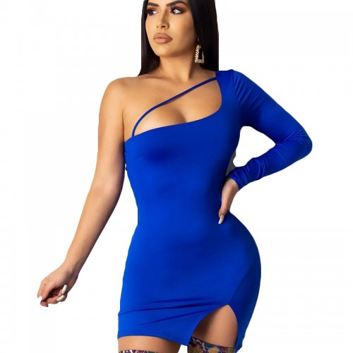 Blue One Shoulder Split Side Midi Dress YSH6132