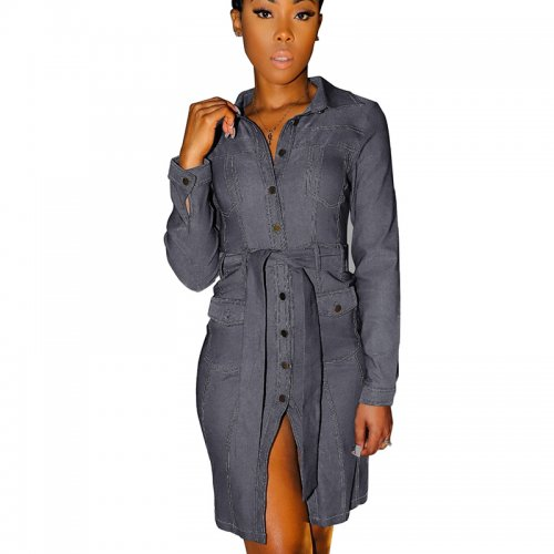 Gray Double Layer Self-Tied Buttom Front Shirt Dress SMR9572