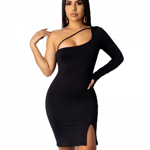 Black One Shoulder Split Side Midi Dress YSH6132