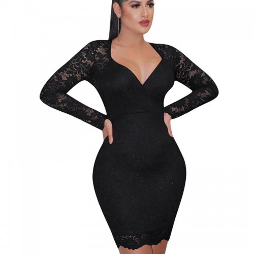 Black Plunging Neck Embroidered Shoulder Bodycon Dress HH8906