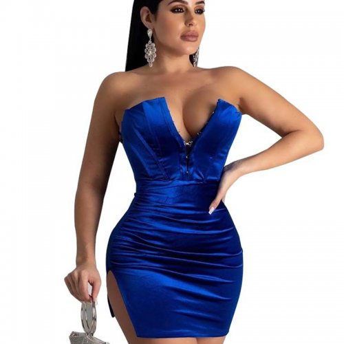 Blue Off Shoulder Zip Front Split Side Mini Dress KA7071