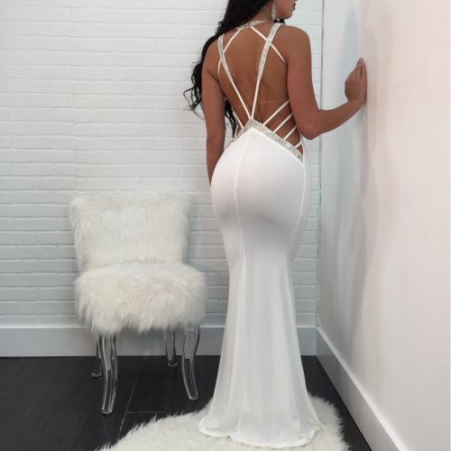 White Plunging Neck Sequined Side Trim Open Back Long Dress QQM3946