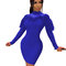 Blue Unique Long Sleeved Plain Color Feather Stitching Bodycon Dress R6253