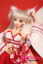 Mini Doll ミニドール 最新作:狐さん  60cm バスト平ら 高級TPE製 セックス可能 軽量化 3kg 収納が便利 使いやすい 普段は鑑賞用 小さいラブドール 女性素体 フィギュア cosplay