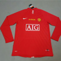 2007-08 Man Utd home Red long sleeve Retro soccer jersey(胸前有绣欧冠决赛小字)