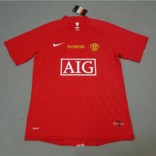 2007-08 Man Utd home Red Retro soccer jersey(胸前有绣欧冠决赛小字)