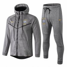 18-19 Brazil Grey Hoody Zipper Jacket Tracksuit