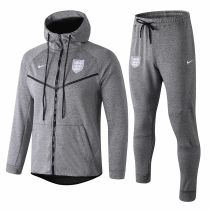 18-19 England Grey Hoody Zipper Jacket Tracksuit