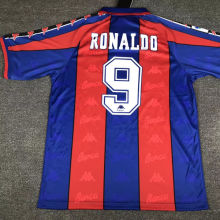 BA Home Red and Blue Retro Soccer Jersey 96-97(Name:RONALDO Number:9)
