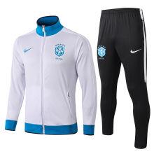 2019/20 Brazil White High Collar Jacket Tracksuit