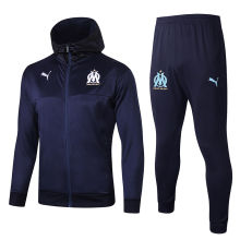 2019/20 Marseille Royal Blue Hoody Zipper Jacket Tracksuit