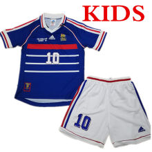 1998 France Home Blue Kids Retro Soccer Jersey