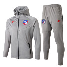 2019/20 Atletico Madrid Gray Hoody Zipper Jacket Tracksuit