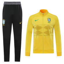 2020 Brazil Yellow High Collar Jacket Tracksuit