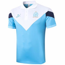 2020 Marseille White And Blue Polo Short Jersey