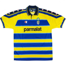 1999-00 Parma Home Yellow Retro Soccer Jersey