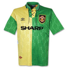 1992-1994 Man Utd Yellow And Green Retro Soccer Jersey