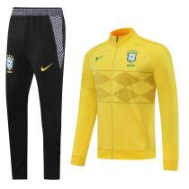 2020 Brazil Yellow High Collar Jacket Tracksuit
