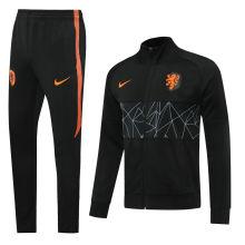 2020  Netherlands Black High Collar Jacket Tracksuit