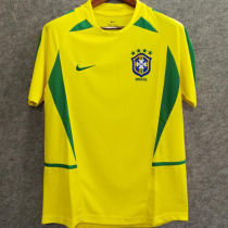 2002 Brazil Home Yellow Retro Soccer Jersey