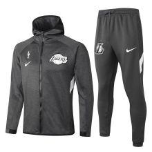 2020/21 LA Lakers Grey Hoody Zipper Jacket Tracksuit(湖人)