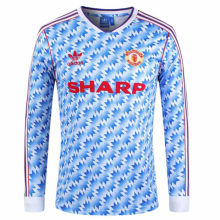 1990-1992 Man Utd Away Long Sleeve Retro Soccer Jersey